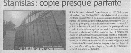 STANISLAS NICE – COPIE PRESQUE PARFAITE SELON LE NICE MATIN DU 22 MARS 2017