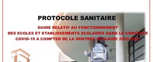 PROTOCOLE SANITAIRE DE LA RENTREE 2020